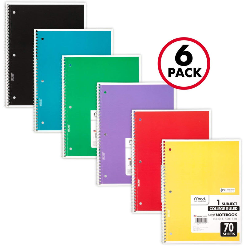 Mead Spiral Notebooks, 1 Subject, College Ruled, 70 Sheets, Assorted Colors, 6 Pack (73065) - Epivend