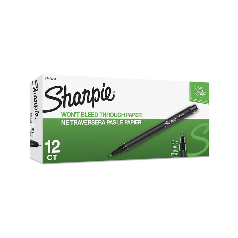 Sharpie Plastic Point Stick Water Resistant Pen, Ink, Fine, Pack of 12, Black (1742663) - Epivend
