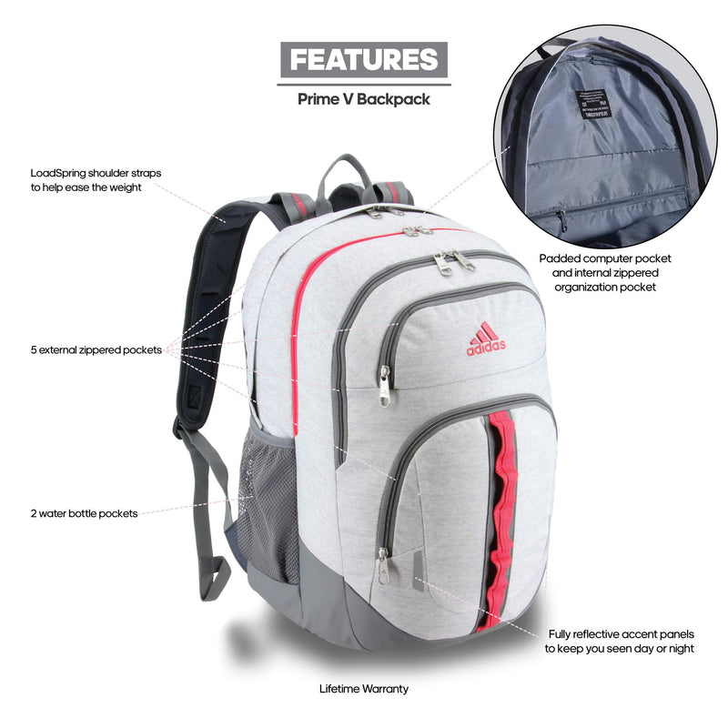 adidas Unisex Prime Backpack, Jersey White/ Real Pink/ Grey, ONE SIZE - Epivend