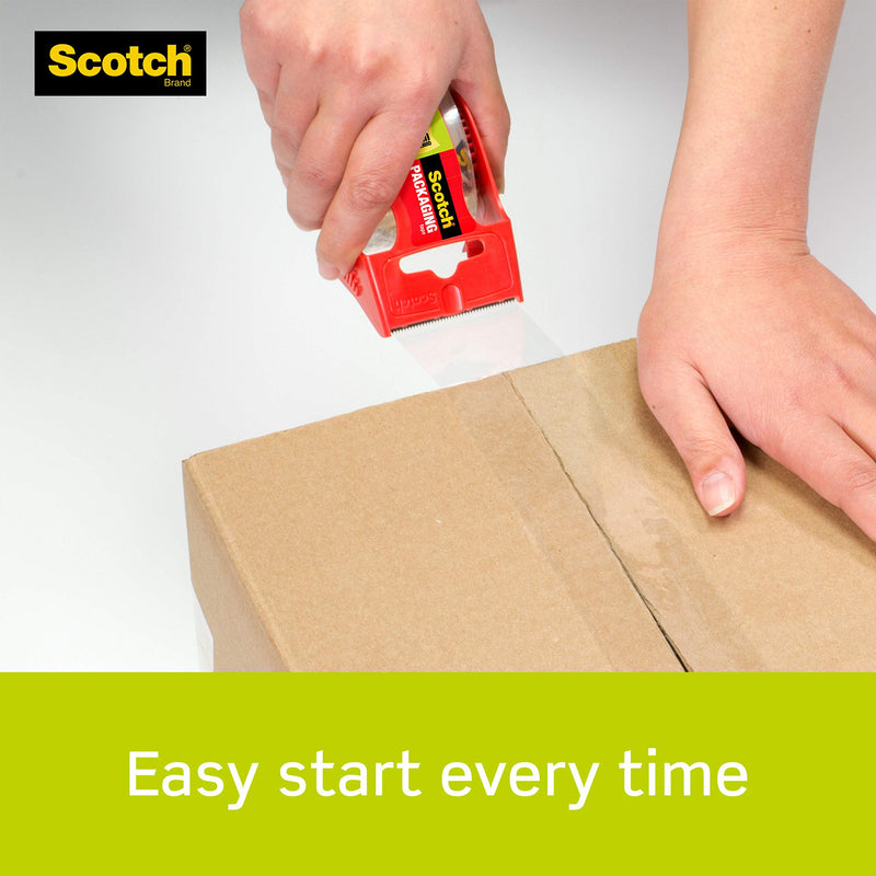 Scotch Sure Start Packaging Tape, 2 Inches x 22.2 Yards, 2-Inch Core, Clear, 6/Pack, (145-6) - Epivend