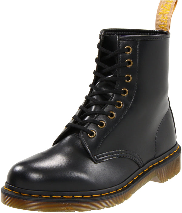 Dr. Martens Vegan 1460 Smooth Black Combat Boot,  Fleix Rub, 10 B(M) US Women / 9 D(M) US Men - Epivend