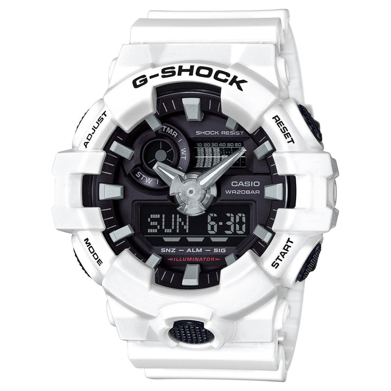 Casio Men's G Shock Quartz Watch with Resin Strap, White, 25.8 (Model: GA-700-7ACR) - Epivend