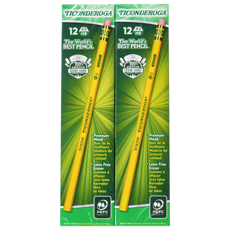 TICONDEROGA Pencils, Wood-Cased, Unsharpened, Graphite #2 HB Soft, Yellow, 96-Pack (13872) - Epivend