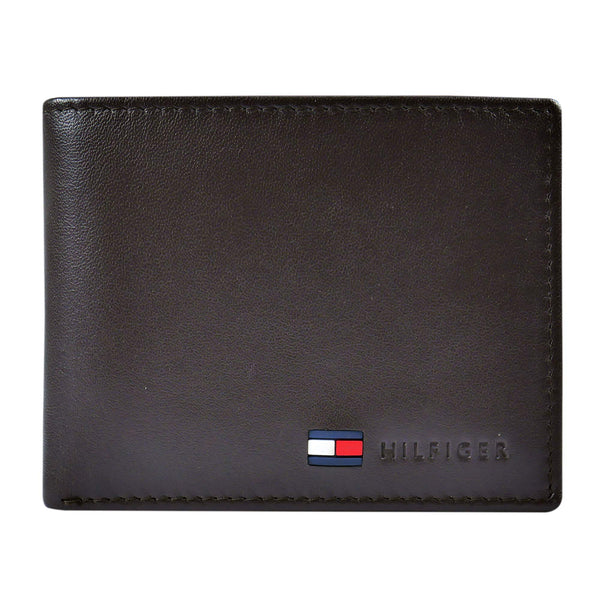 Tommy Hilfiger Men's Leather Wallet - Thin Sleek Casual Bifold with 6 Credit Card Pockets and Removable ID Window, British Tan - Epivend