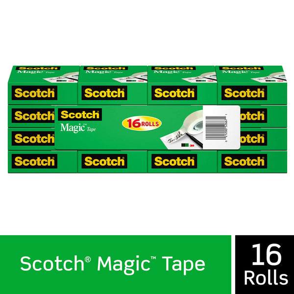 Scotch Brand Magic Tape, 16 Rolls, Numerous Applications, Engineered for Office and Home Use, 3/4 x 1000 Inches, Boxed (810K16) - Epivend