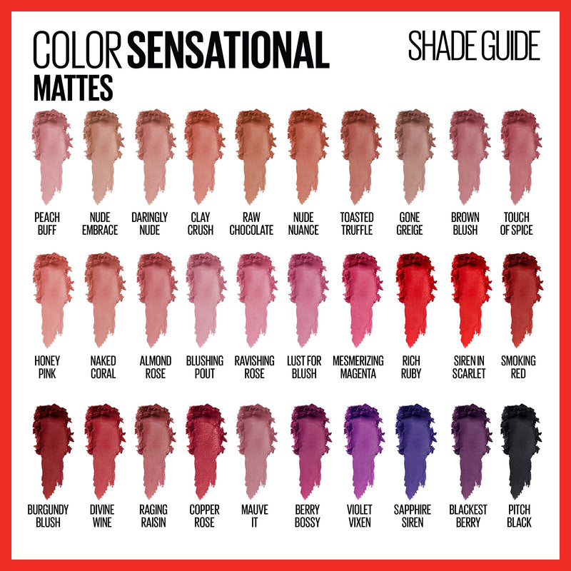 Maybelline New York Color Sensational Creamy Matte Lipstick, Touch of Spice, 0.15 Ounce (Pack of 1) - Epivend