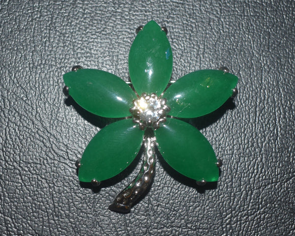 Green Floral Onyx Brooch Pin - Epivend