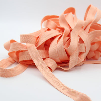 Salmon Pink COTTON HERRINGBONE 15mm **10 Meters**