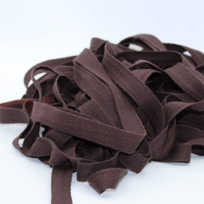 Dark Brown COTTON HERRINGBONE 15mm **10 Meters**
