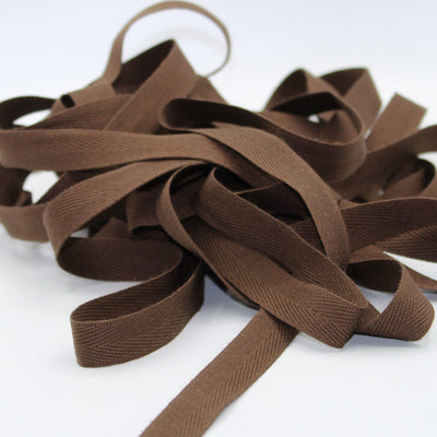 Brown COTTON HERRINGBONE 15mm **10 Meters**