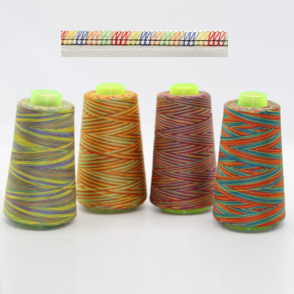 3000 yards Multicolour Overlock Yarns S40/20 - Mix Colours (2700 meters)