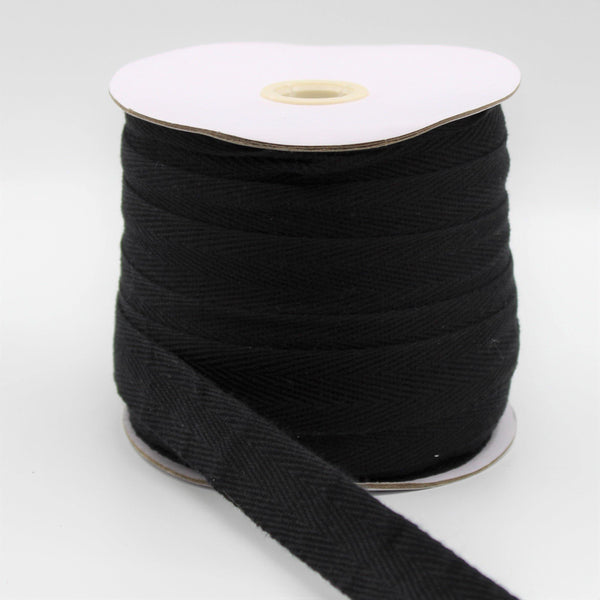 Black COTTON HERRINGBONE 20mm **50 Meters**