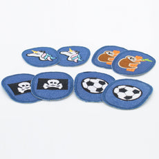 4 Pairs Children Elbow/Knee Patches - Iron-on - Denim Base - 95mm x 70mm