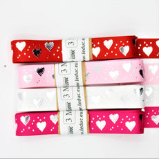 3 meters Saint Valentine's TAPE, Gros Grain tape 25mm with Silver Hearts