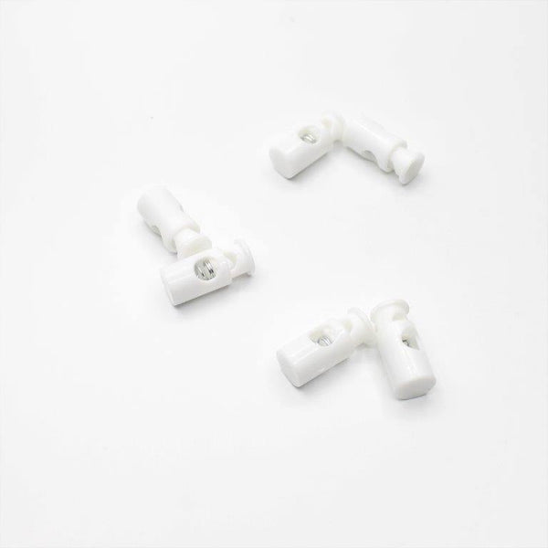 6 White Cord Stoppers 28mm