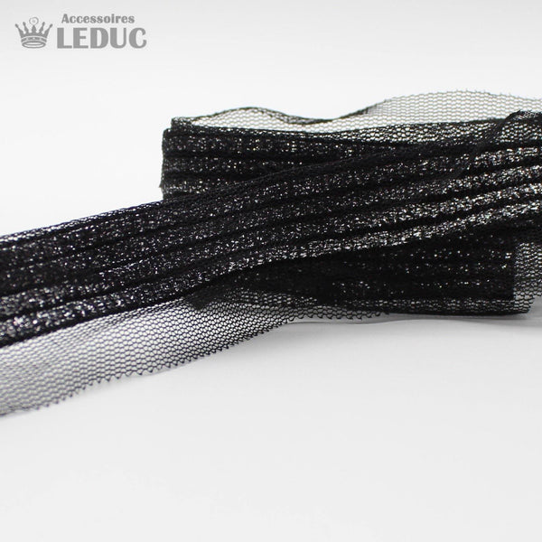 1 meter PAS1555 - 35MM Black Mesh with Silver Trim