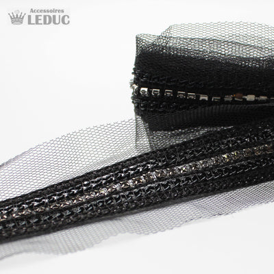 1 meter PAS1581 - 47MM Black Mesh with Chains & Strass