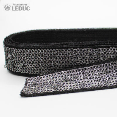 1 meter PAS2122 - 20MM sequin trim black + gunmetal