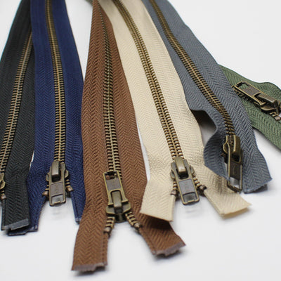 YKK - 80cm Metal Antique Bronze Zipper for Jackets - One Way Open end