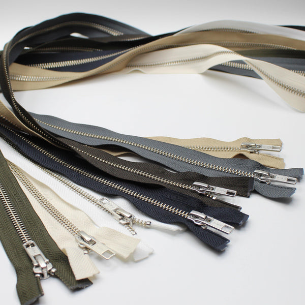 YKK - 80cm Metal Nickel colour Zipper for Jackets - One Way Open end