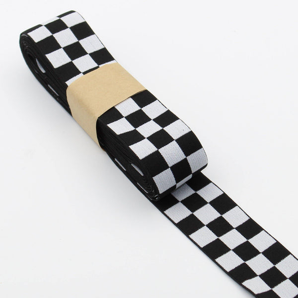 10 meters Check Elastic 4cm Black + White