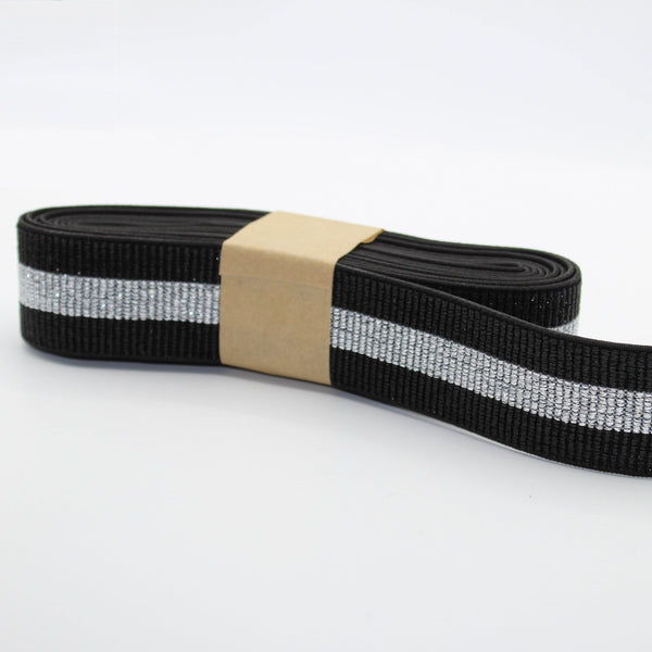 5 METERS - 40mm All Lurex Elastic Striped Gros Grain