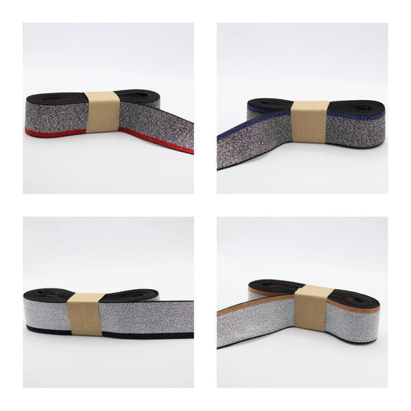 5 METERS - 40mm All Lurex Elastic with Side Stripe