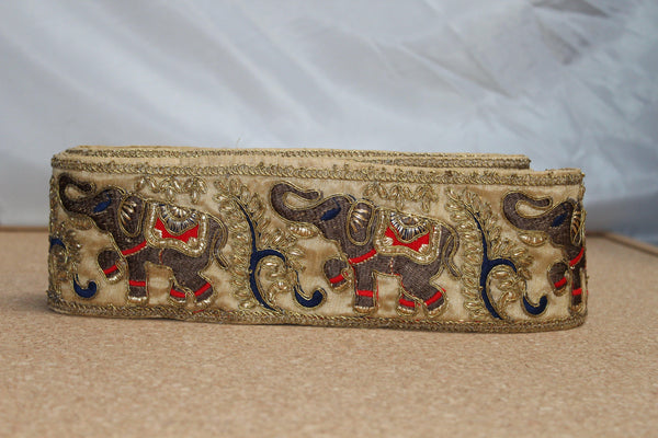Indian 9cm Wide Embroided Braid (Elephant Design)