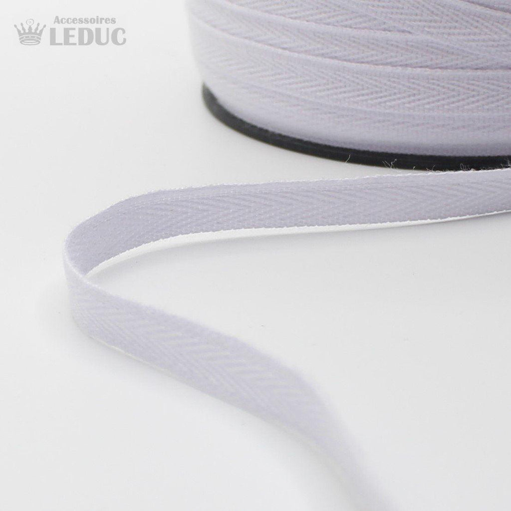 WHITE COTTON HERRINGBONE 10mm **150 Meters**