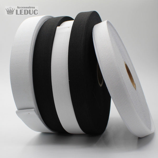 Knitted Elastic Black or White - Rolls of 25 meters