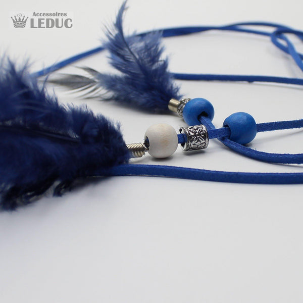 5 blue feather + suede belts 140 cm