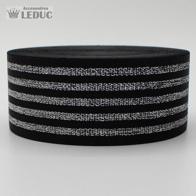 10 meters Striped Elastic 4cm with Gold or Silver Lines