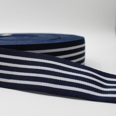 10 meters Striped Elastic 4cm Navy + White Lines ELA1571