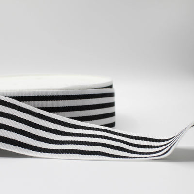 50 meters - 38mm Striped Gros Grain Tape Black + White Stripes