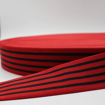 10 meters Striped Elastic 4cm Red + Black Lines ELA1570