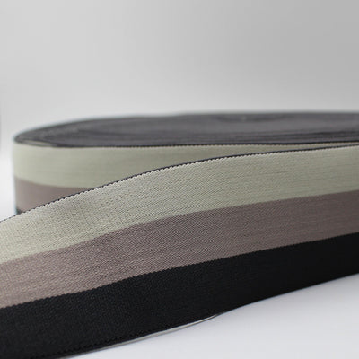 10 meters Striped Elastic 5cm Light Grey + Dark grey+ Black ELA2509