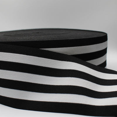10 meters Striped Elastic 8.5cm White + Black ELA024