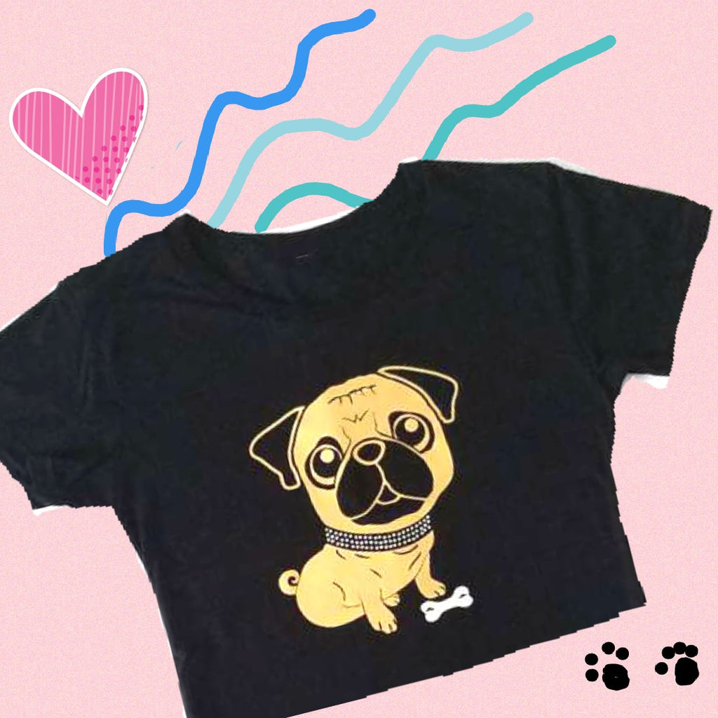 GOLD PUG RHINESTONE COLLAR T-SHIRT