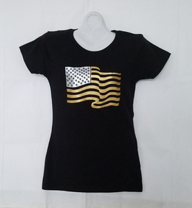 GOLDEN AMERICAN FLAG T-SHIRT