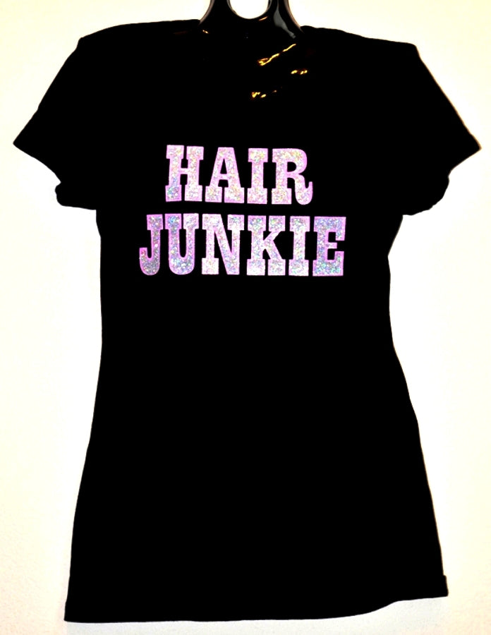 HAIR JUNKIE T-SHIRT (PINK/SILVER)