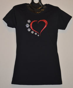 RED HEART WITH PAWS T-SHIRT