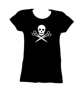 SKULL WITH SCISSOR T-SHIRT