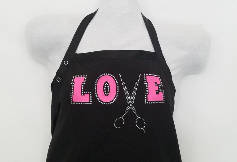 "LOVE RHINESTONE WITH NEON PINK ""NEW"" APRON"