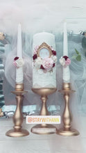 Load and play video in Gallery viewer, Gold, Burgundy, Pink, White Wedding Candles And Holders