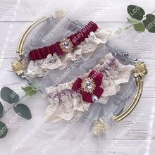 Load image into Gallery viewer, Burgundy Ivory Wedding Garter