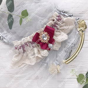 Burgundy Ivory Wedding Garter