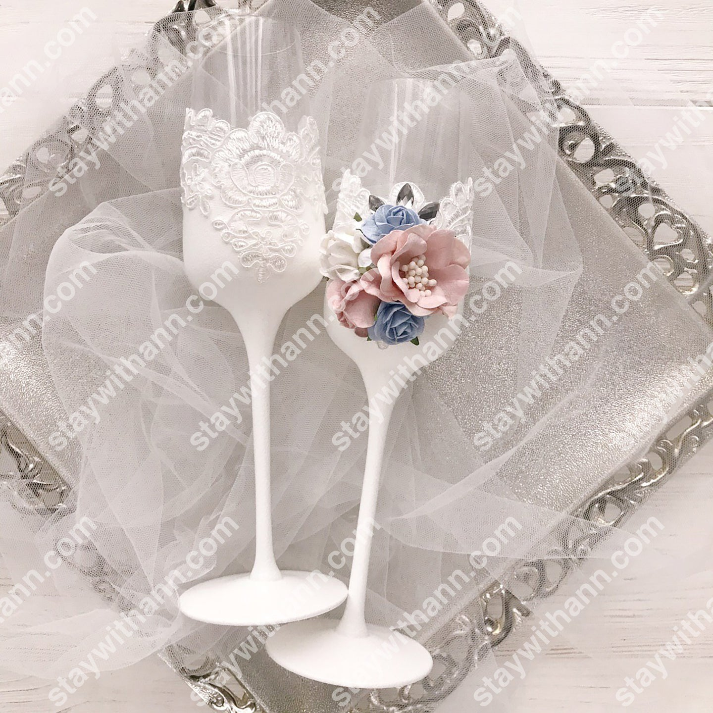 Dusty Blue, Dusty Rose, White And Silver Wedding Glasses