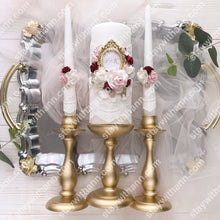 Load image into Gallery viewer, Gold, Burgundy, Pink, White Wedding Candles And Holders
