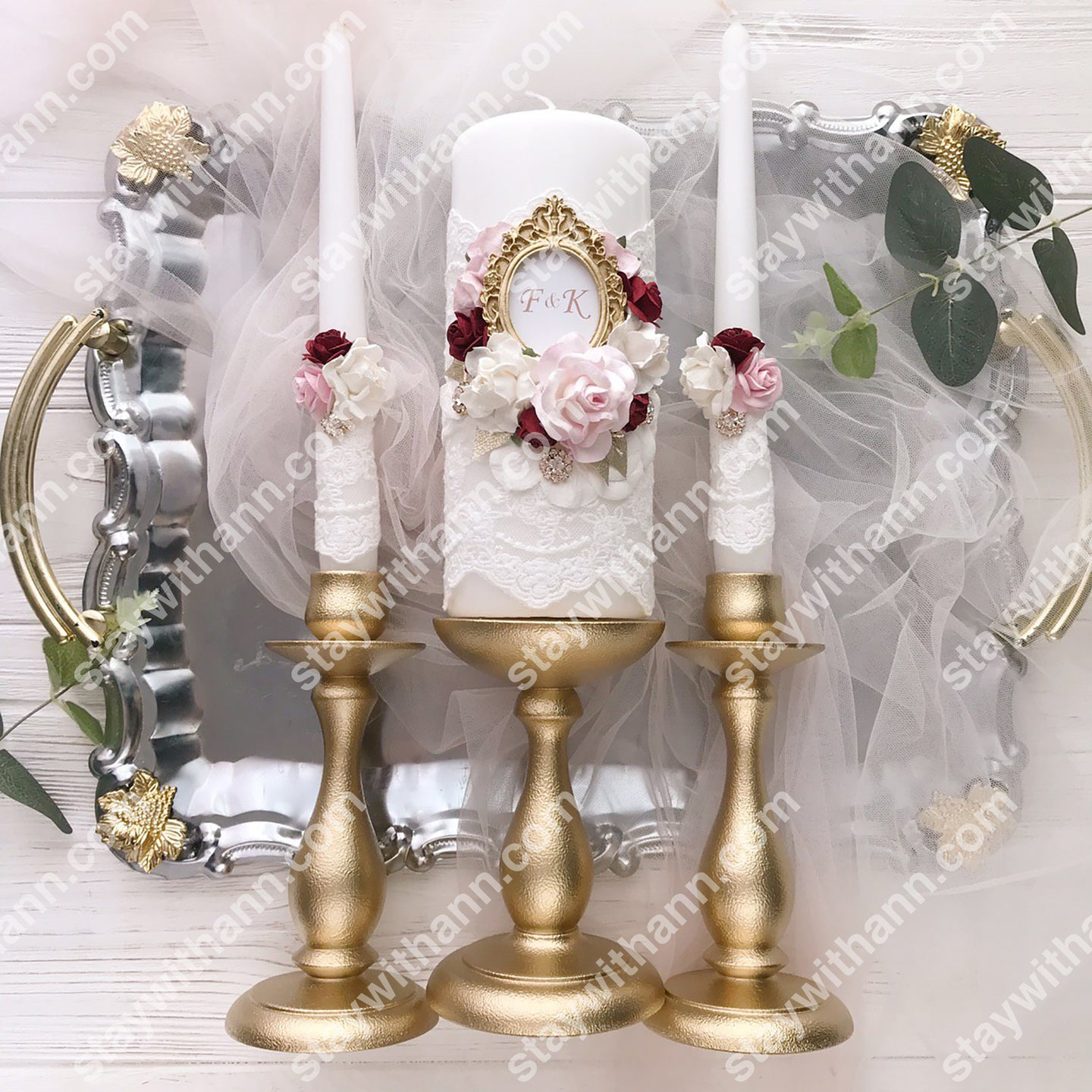 Gold, Burgundy, Pink, White Wedding Candles And Holders