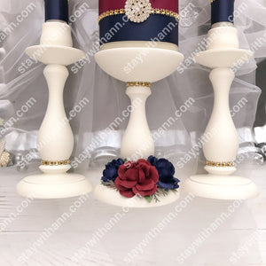 Navy Blue, Burgundy, Gold, Ivory Wedding Candles And Holders